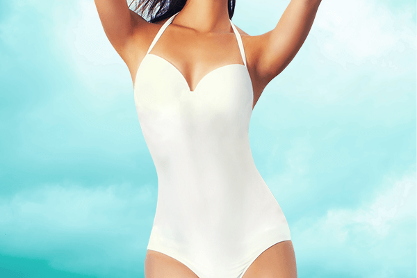 woman in white swimsuit